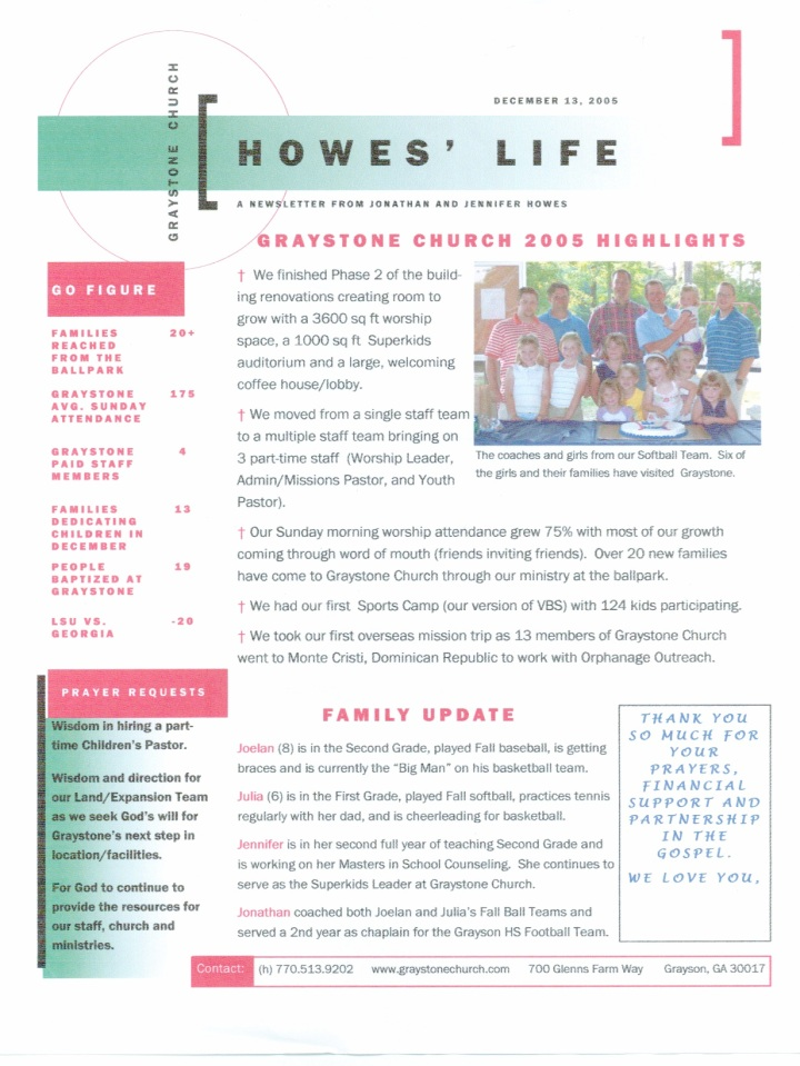 Howes 2005 Christmas Support letter